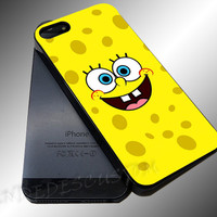 Spongebob Face - iPhone 4/4s/5c/5s/5 Case - Samsung Galaxy S3/S4 Case iPod 4/5 Case - Black or White