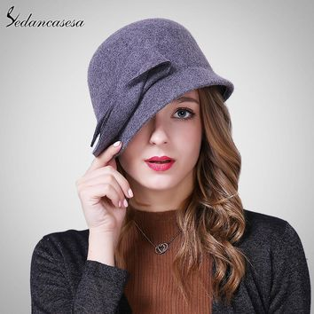 Sedancasesa New Autumn Winter Hat Female England Wool Felt Hat Retro Cloche Hats Hot selling Warm Bucket Hats for women FW209001