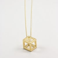 Gold Hollow Cube Pendant Necklace