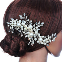 Top Sell Wedding Hair Accessories Flowers Hair Clips Bride Rhinestone Tiara Pearl Fabric Bridal Crown Floral Hairdress SL