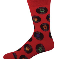 Socksmith Vinyl Records Crew Socks