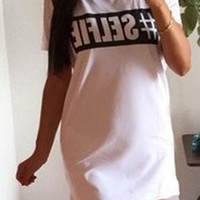 "Short Sleeve ""Selfie"" Letter Print Dress"