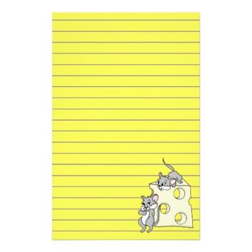 Cute Mice And Cheese Graphic, Lined Stationery