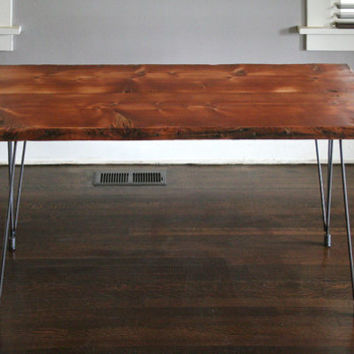 kitchen table from reclaimed old growth wood with recycled content steel rod legs - modern industrial