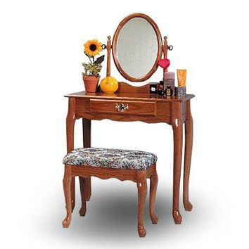 Oak Finish 3-Piece Wood Bedroom Vanity Set with Bench and Mirror