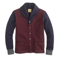 Dehen For J.Crew Shawl-Collar Cardigan Sweater In Maroon Colorblock Wool