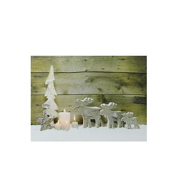 "LED Lighted Flickering Candles and Winter Wooden Moose Canvas Wall Art 12"" x 15.75"""