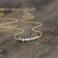 Silver Nuggets Gold Necklace / Simple Minimalist Everyday Jewelry by burnish