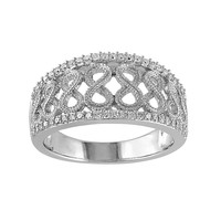 1/4 Carat T.W. Diamond Sterling Silver Openwork Infinity Ring (White)