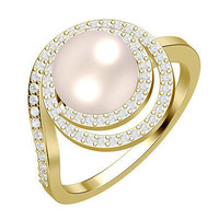 FANTASTIC WHITE FRESH WATER PEARL STUD SOLITAIR 925 STERLING SILVER RING FOR HER