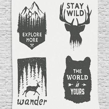 "Hippie Boho Tapestry Home Decor, Wilderness Emblems ""Stay Wild"" ""Wander"" ""the World is Your"" Arrow Pine Image Print, Bedroom Living Room Dorm Wall Hanging Tapestry, Dimgray Platinum"
