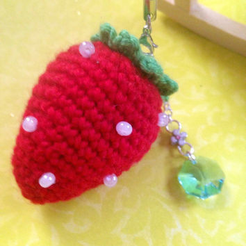 Crochet Strawberry Cell iPhone Accessory Dust Plug Charm Headphone Jack Dust Plug Charm Crochet Strawberry Charm Amigurumi Strawberry