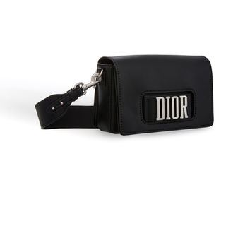 Flap bag with slot handclasp in black calfskin - Dior