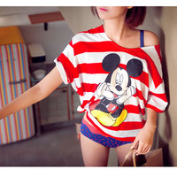 Breezy Striped Mickey Mouse T-Shirt