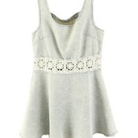 Body-con Washed Denim Dress with Lace Hollow Out
