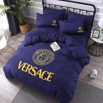 Luxury Versace Designer Home Blanket Quilt coverlet 2 Pillows Shams 4 PC Bedding Set Purple