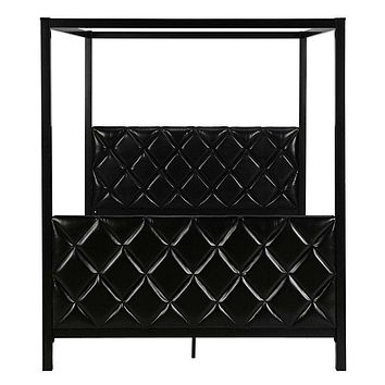 Queen Metal Canopy Bed Frame with Black Faux Leather Headboard and Footboard