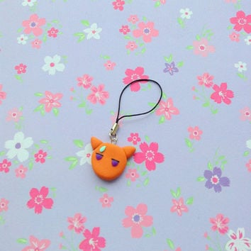 Anime Fruits basket polymer clay charm  Kyo Sohma cat form kawaii manga keychain