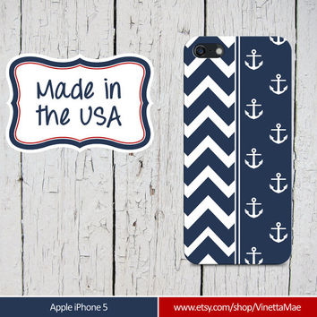 iPhone 5 Cell Phone Case Navy White Chevron Stripe Anchor Apple Personalized Name Monogram Protective White Plastic Hard Cover VM-1009