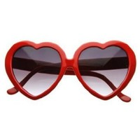 Amazon.com: Large Oversized Womens Heart Shaped Sunglasses Cute Love Fashion Eyewear- Red: Shoes