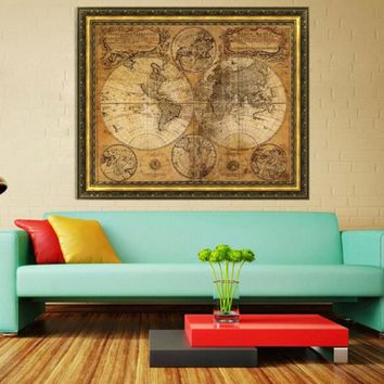 World Map Vintage Style Retro  Poster Globe Old World Nautical Gifts Home Decor Mural Decal