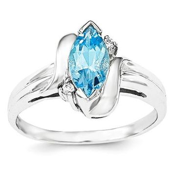 Sterling Silver Genuine Swiss Blue Topaz Marquise & CZ Accented Ring