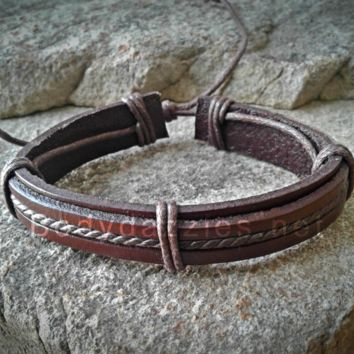 Cute Brown Adjustable Unisex Leather Weave Wrap Bracelets