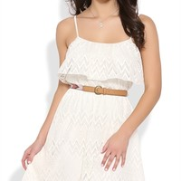 High Low Ruffle Dress with Tribal Belt and Spaghetti Straps