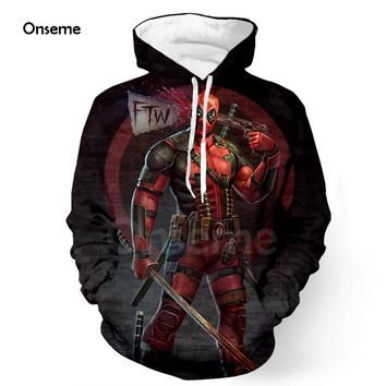 Newest Men Women Hoodies Pullovers Outerwear Comic Deadpool Pocket Hooded Sweatshirts Superhero Bastard Deadpool 3D Hoodie