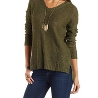 Olive Slub Knit Pullover Sweater by Charlotte Russe