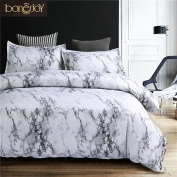 Bonenjoy 2018 Stone Pattern Comforter Bedding Set Queen Size Reactive Printing Beddings 2/3Pcs White and Black Duvet Cover Set