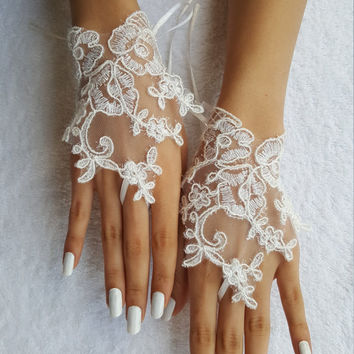 ivory wedding glove unique Original design Wedding Gloves ivory lace gloves Fingerless Gloves Free Ship