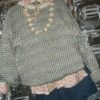 Mystery Hipster SWEATER and SHIRT Set patterned mix match tops Plaid Floral Stripes