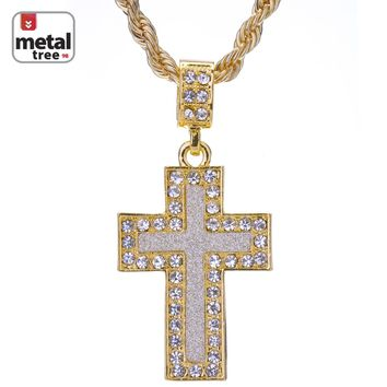 """Jewelry Kay style Men's Hip Hop CZ Iced Out 14k Gold Plated Cross Pendant 24"""" Rope Chain Necklace"""