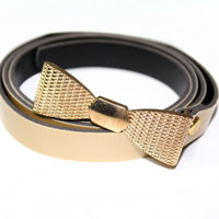 Belt with Gold Buckle Shaped in Bow Tie