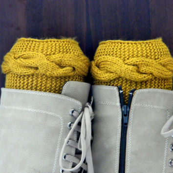 Mustard Boot cuffs - Mustard Leg Warmers - Cable knit boot toppers - Winter Fashion - Cozy legwarmers - Winter Acessory,Legwear