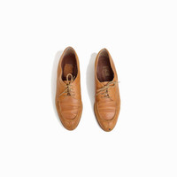 Vintage Menswear Inspired Leather Oxfords in Caramel - women's 8