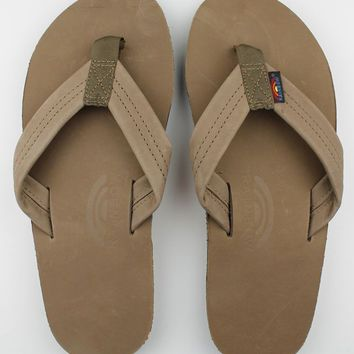 Women's Premier Leather Single Layer Arch Sandal in Dark Brown by Rainbow Sandals
