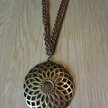 Antique Bronze Flower TriColour Chain by EudaimoniaJewelry on Etsy