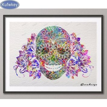 Skull Skulls Halloween Fall DIY Diamond Embroidery Abstract watercolor Sugar  Diamond Painting Cross Stitch Mosaic wedding Decoration Calavera