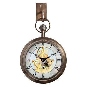 Clock with Wall Hook, Antiqued Brass, Wall Clocks