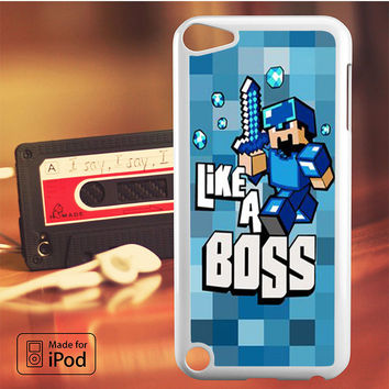 Minecraft Like A Boss Blue iPod Touch 4/5/6 Case