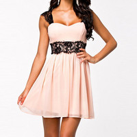 Pink Sweetheart Collar Lace Embellished Dress