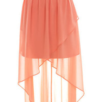Peach Wrap Drop Back Skirt