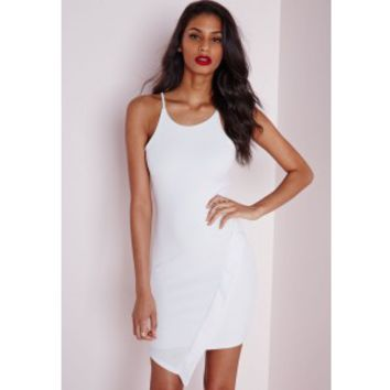 Crepe Asymmetric Hem Bodycon Dress White - Dresses - Bodycon Dresses - Missguided