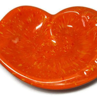 Orange Splatterware Ceramic Dish Once an Ashtray now an Artsy catch-all Dish Eye Glass Holder Candy Dish Office Art