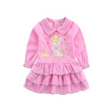 2017 new style Velour winter warm baby girls clothes princess fashion soft high quality dress long sleeve embroidery underdress