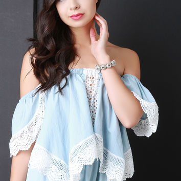 Crochet Accent Chambray Bardot Top