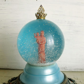 Vintage Virgin Mary with Baby Jesus RARE snow globe rhinestones Our Lady statue dome shabby chic religious art