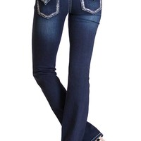 Grace in LA Easy Fit Boot Cut Jeans with Ice Embellished Pockets EB6932-SL